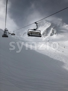 Skilift in the Stubai glacier ski resort Stock Photo