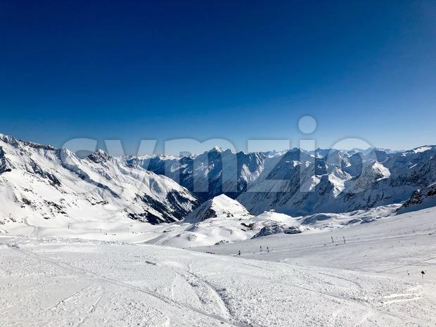 Skiing in the Stubai glacier ski resort in Tyrol, Austria