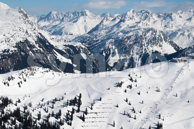 Beautiful winter mountain panorama with ski slopes in Montafon, Austria