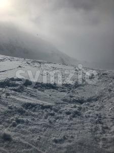 Skiing in the Stubai glacier ski resort Stock Photo