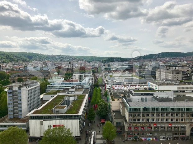 Stuttgart, Germany - April 24, 2018: Famous shopping promenade Koenigstrasse, the main pedestrian area of Stuttgart, as seen from above.