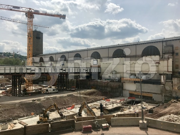 Stuttgart, Germany - April 24, 2018: Construction site at Stuttgart main station for the Stuttgart21 railway project where the main ...