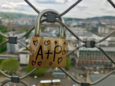 Lock of lovers high above the city Stock Photo