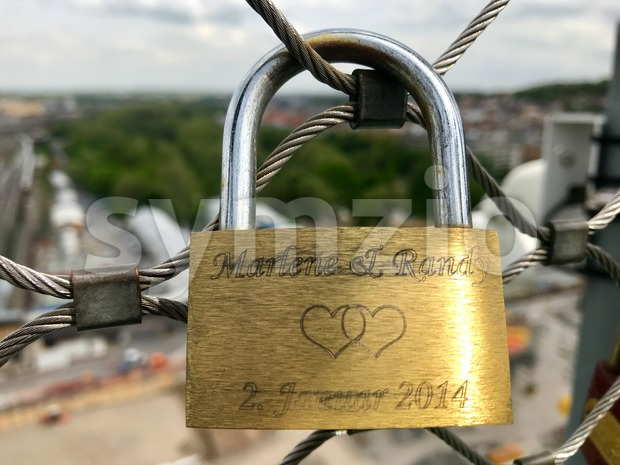 Stuttgart, Germany - April 24, 2018: Love lock on the construction site at Stuttgart main station for the Stuttgart21 railway ...