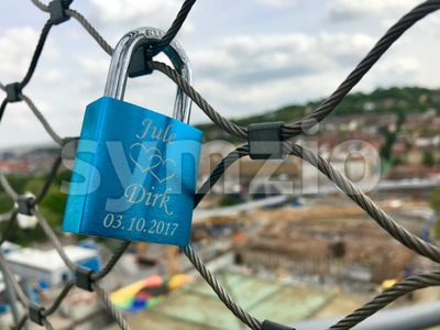 Love Lock at the construction site at Stuttgart main station for the Stuttgart21 railway project Stock Photo