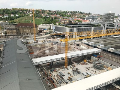 Construction site at Stuttgart main station for the Stuttgart21 railway project Stock Photo