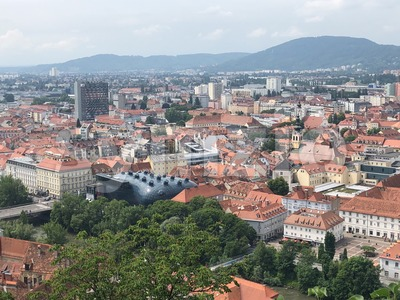 Aerial view of the historical city of Graz, Austria Stock Photo