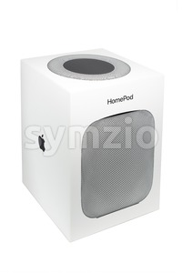 Packaging of an Apple HomePod speaker Stock Photo