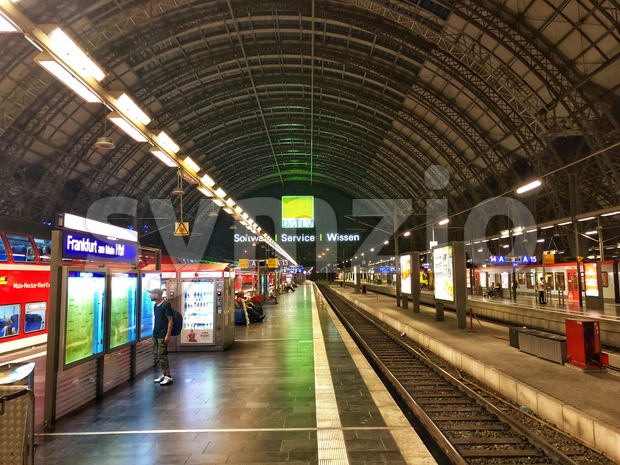 Frankfurt am Main, Germany - August 08, 2018: Frankfurt Main Station in Germany at night, glorious old architecture