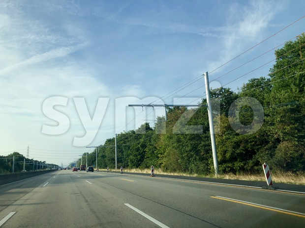 Overhead lines on a test area for electric trucks Stock Photo