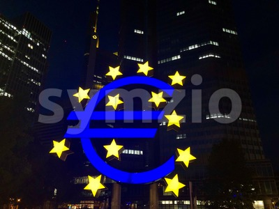 Euro sign at European Central Bank headquarters in Frankfurt Stock Photo