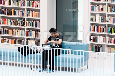 Stuttgart - Studying in the contemporary public library Stock Photo