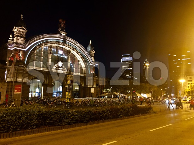 Frankfurt Main Station in Germany at night Stock Photo