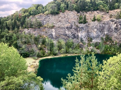 Hoewenegg lake and nature reserve in a former volcanic crater Stock Photo