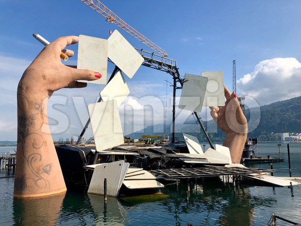Bregenz, Austria - September 8, 2018: Deconstruction of the stage for the opera Carmen on the world's largest lake stage ...