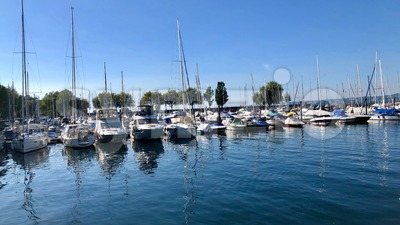 Boats at Lake Constance Harbor Stock Photo