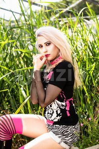 Beautiful woman portrait with punk make up and outfit Stock Photo