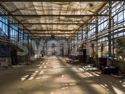 Old abandoned greenhouse Stock Photo