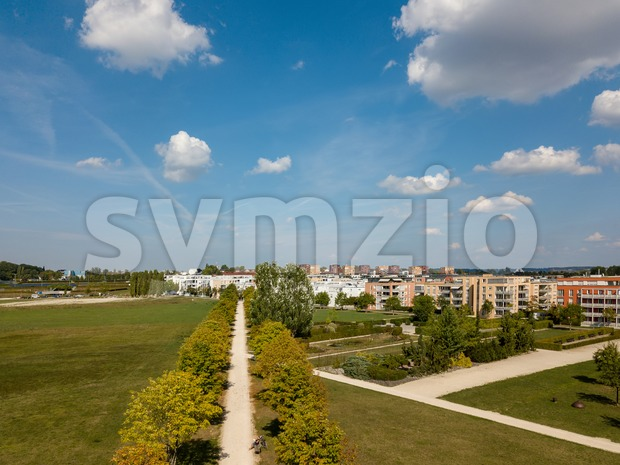 Aerial view on Scharnhauser Park near Stuttgart, Germany Stock Photo