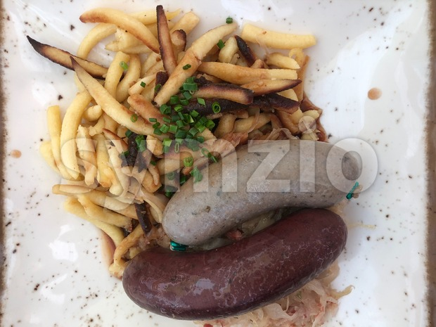 German blood and liver sausages Stock Photo