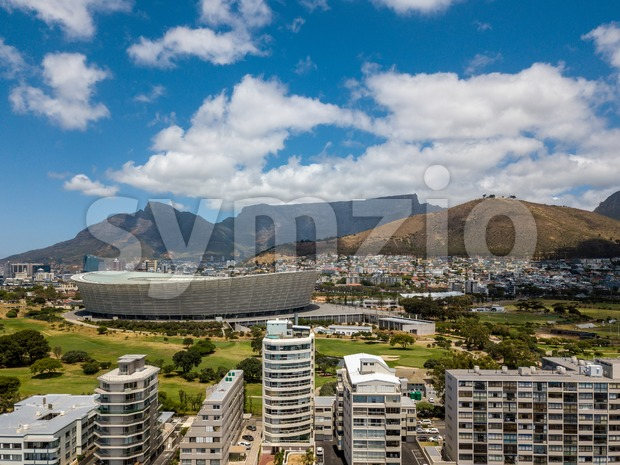 Aerial photo of Cape Town and Tabble Mountain Stock Photo