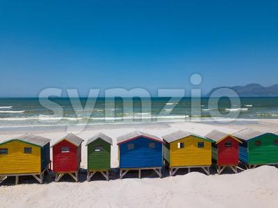 Colourful wooden beach huts at Muizenberg beach Stock Photo
