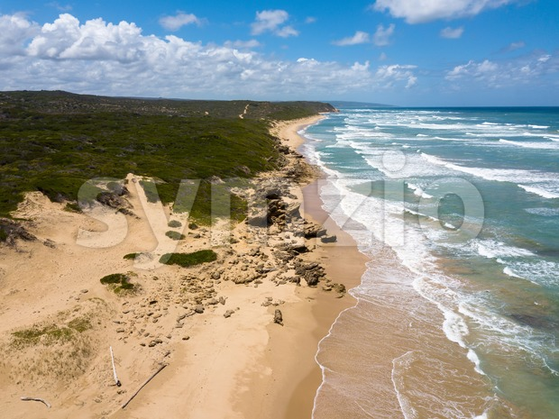 Aerial photo of an amazingly beautiful and lonely sea landscape Stock Photo