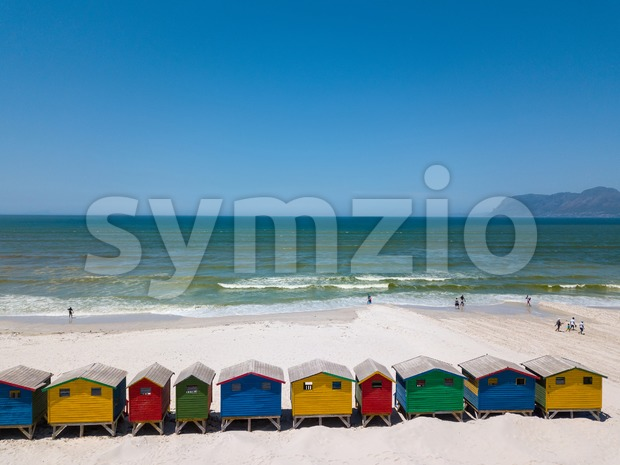 Colourful wooden beach huts at Muizenberg beach Stock Photo