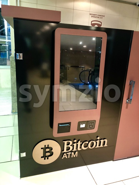 Johannesburg, South Africa - November 25, 2018 : Bitcoin ATM in Sandton Shopping Mall in Johannesburg, South Africa