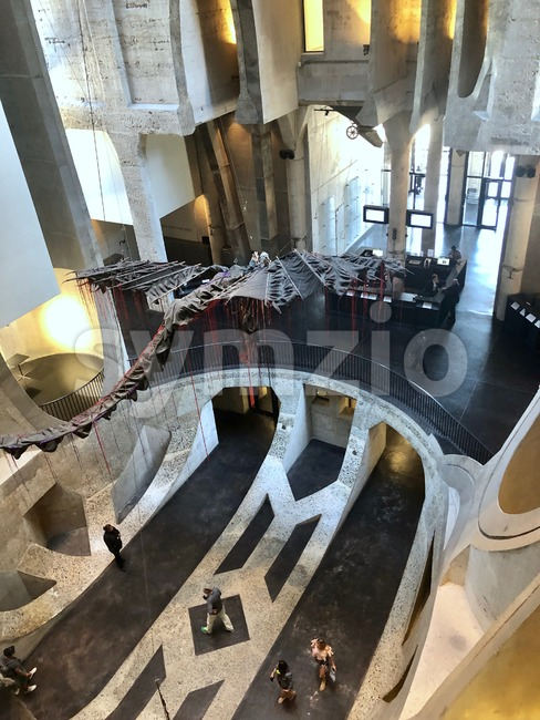 View of the impressive Zeitz Museum of Contemporary Art Africa (MOCAA) located in in a reincarnated grain silo in Cape Town, South Africa. Stock Photo