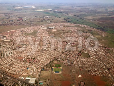 Approaching Johannesburg in South Africa by plane Stock Photo
