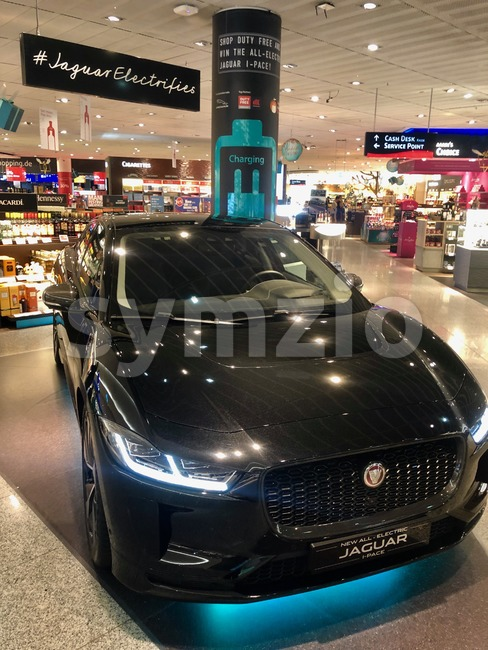 Frankfurt, Germany - December 2, 2018: The new Jaguar I-Pace electric car on display for visitors of the duty free ...