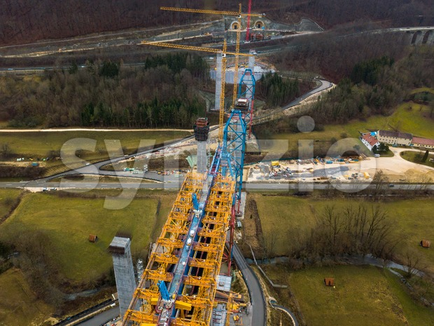 Aerial of a complex new railway bridge construction between two tunnels Stock Photo