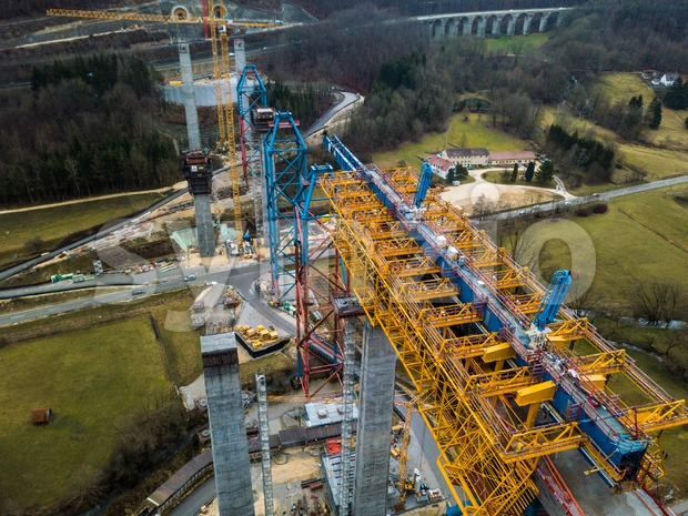 Muehlhausen, Germany - December 30, 2018: Aerial of the new bridge construction of the Stuttgart 21 railway project at Muehlhausen ...