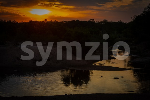 Beautiful sunset with hippos in the river Stock Photo