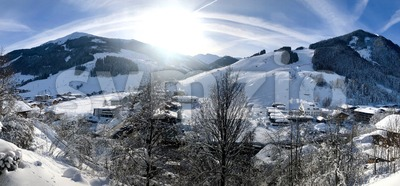 winter panorama of Saalbach-Hinterglemm, Austria Stock Photo