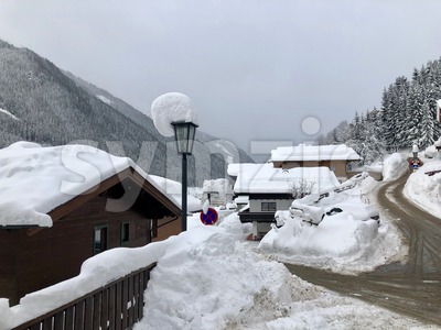 Skiing village Saalbach-Hinterglemm with lots of snow Stock Photo