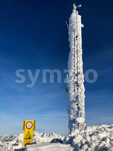 Frozen telecommunication antenna in winter Stock Photo