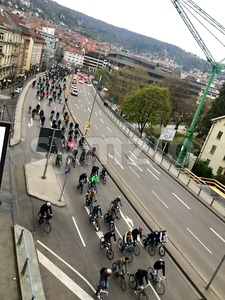 Cyclists participating at the Critical Mass event in Stuttgart Stock Photo