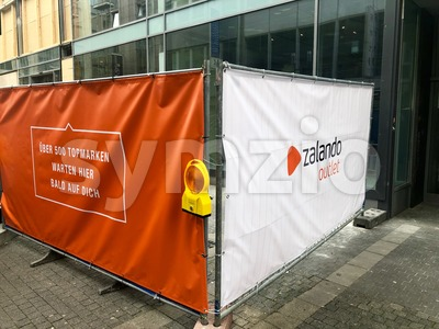 Zalando advertising in front of a future outlet in Stuttgart Stock Photo