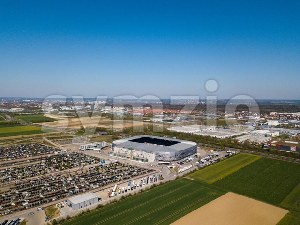Augsburg, Germany - April 20,2019: Aerial view of WWK arena - the official football stadium of FC Augsburg - during ...