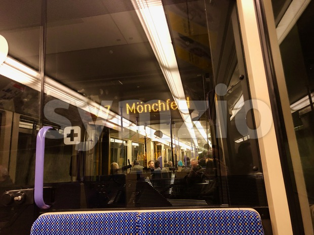 Inside german S-Bahn wagon (train tube interior) Stock Photo
