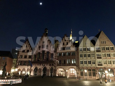 beautiful old town square in Frankfurt at night Stock Photo