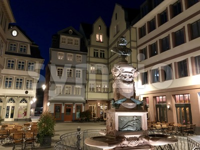 beautiful old town square romerberg with Justitia statue in Frankfurt Germany Stock Photo