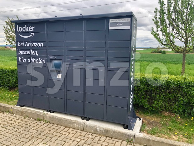 Amazon locker located at a petrol station in Ostfildern, Germany Stock Photo