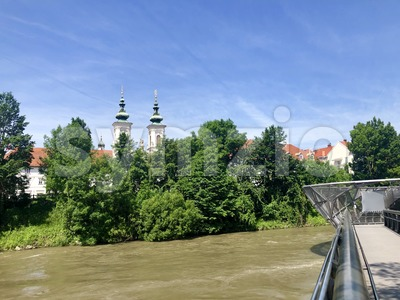 The Murinsel bridge in Graz old town, Austria Stock Photo