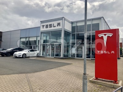 Tesla Dealership with electric cars Stock Photo