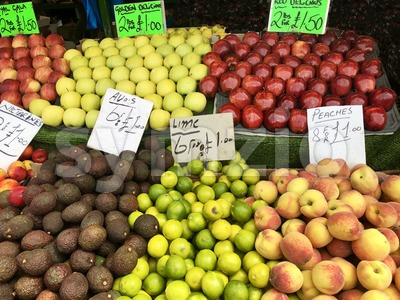 Fruit market with various colorful fresh fruits Stock Photo