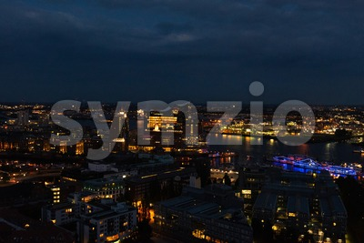 Aerial view of Hamburg in the evening with Elphi and boats Stock Photo