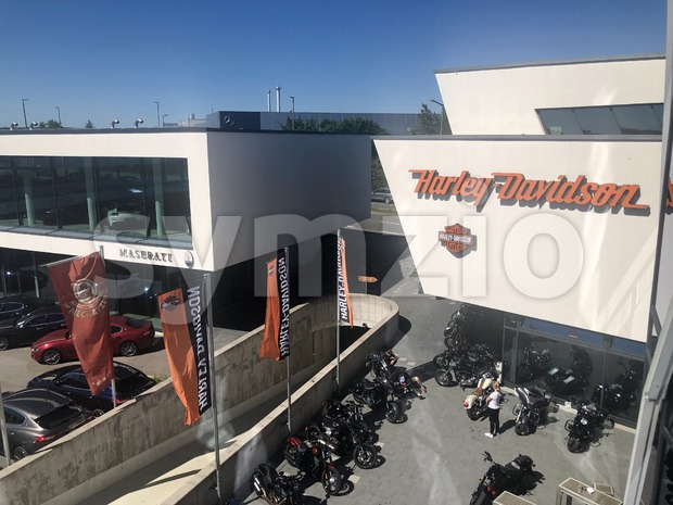 Boeblingen, Germany, June 28, 2019: Harley-Davidson dealership as part of the Motorworld in Boeblingen near Stuttgart, Germany. Harley-Davidson, Inc. is ...